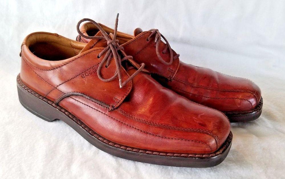 Men's Ecco Light Shoes Size 43 10 Shock Point Brown Oxfords Laces   Clothing,  Shoes