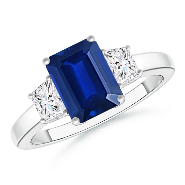 Angara Three Stone Diamond Ring with Blue Sapphire Side Stone in Platinum