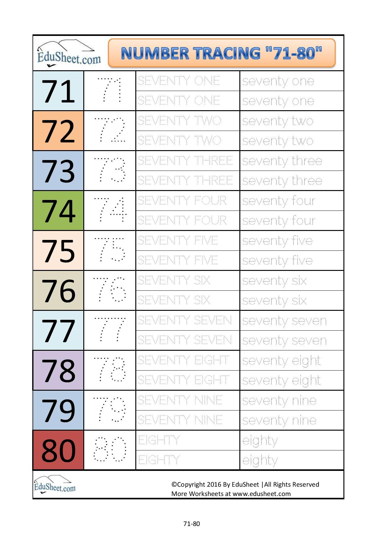 Number Tracing Worksheets Sheet