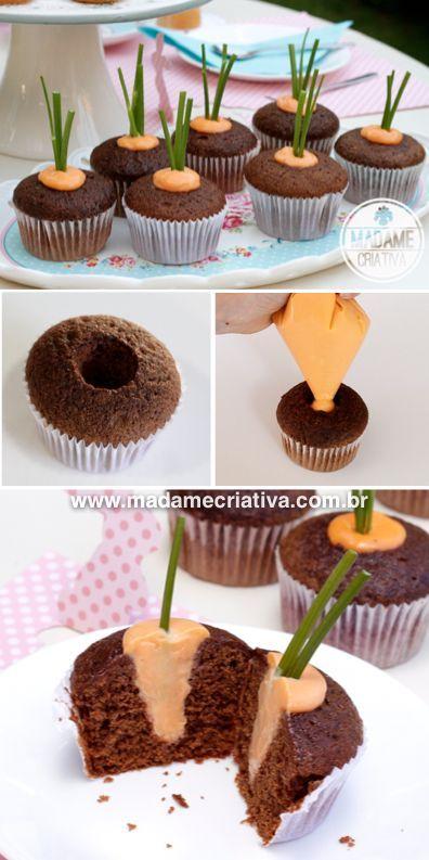 go crazy when they see the carrot inside the easter cupcake! Easy to make - Ideia genial para cupcake de Páscoa -