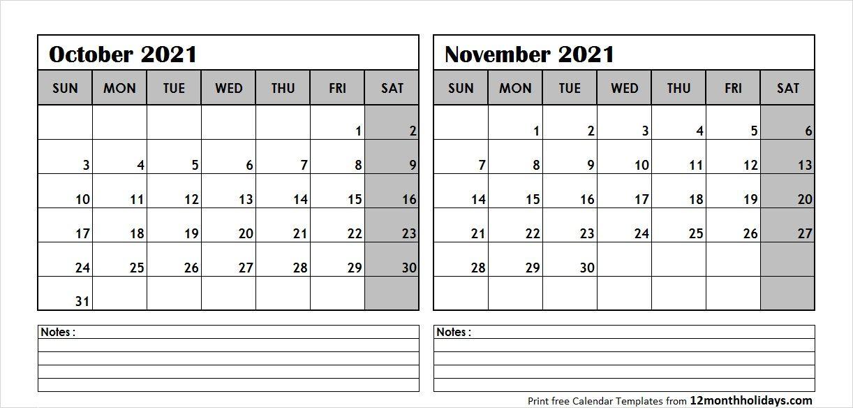 October November Calendar 2021 with Notes 2018 Calendar