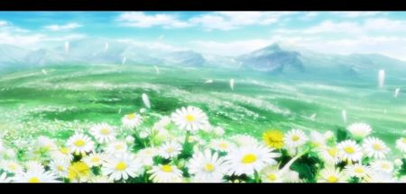 Flower Field Scenery Petals Hill Beautiful Cloud Anime Beauyt Flower White Nisekoi Mountain Scene Green Field Sk Flower Field Flowers Wallpaper