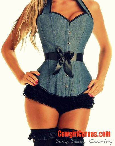 e52d6c40e06  countrgirl  cowgirl  western  country Our sexy denim country girl corset...lace  up back with halter top style. Rich denim material. www.CowgirlCurves.com