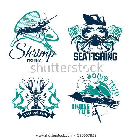 Sea Fishing Trip Vector Icons Of Crab Shrimp Or Prawn And Squid