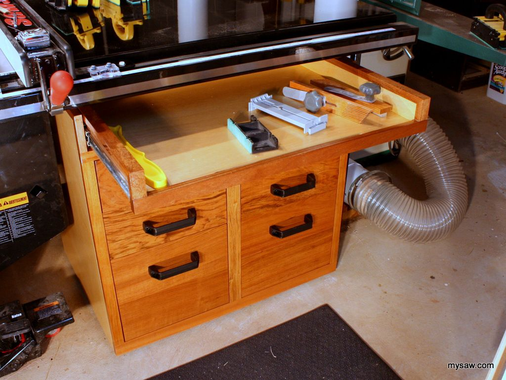 Table Saw Storage Cabinet For Saw Stop Features Pull Out Open Face