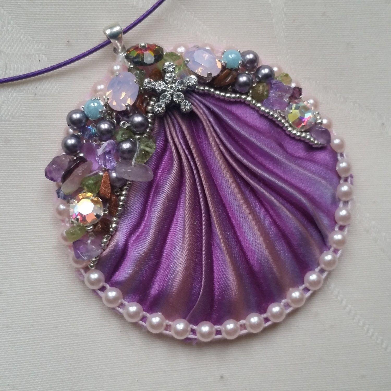 "pendant shibori ""Okinawa"" silk and Swarovski crystal"