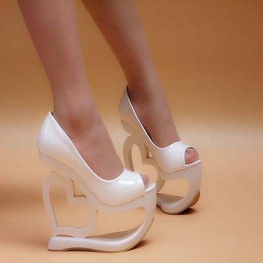 DROPKICKS STOCK ITEM: Extreme Women Peep Toe Ultra Dress Women's Shoes With  Gold Silver Platform Strange Wedge High Heels Heeled Pumps 6 Inch 15cm