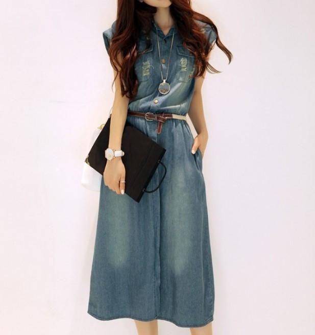 ab46ababc25 Summer Women's Casual Turn-Down Collar Short Sleeve Denim Dress – Zorket
