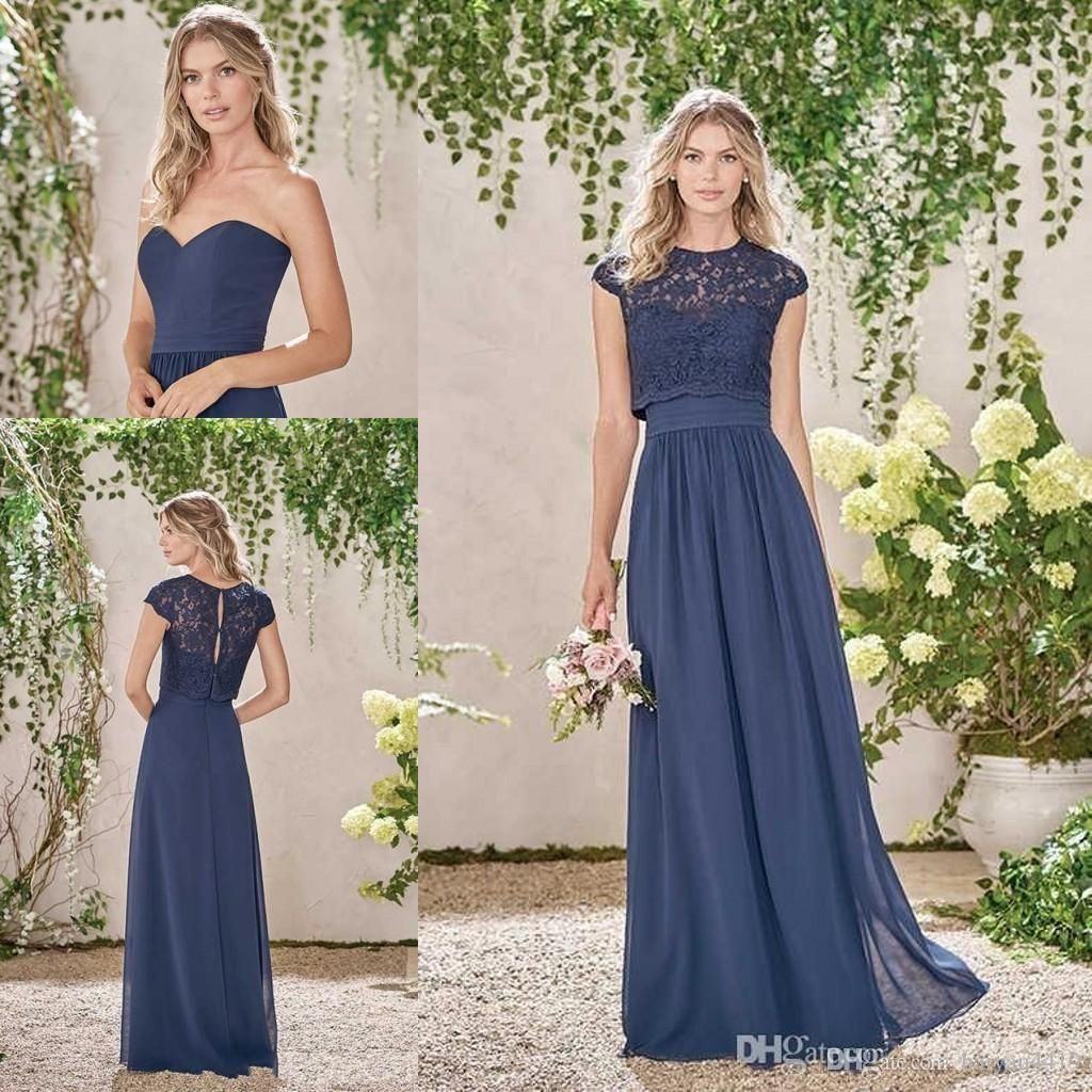 c290a574b41 Navy Blue 2017 New Cheap Bridesmaid Dresses Sexy Long Navy Blue Chiffon  Lace Summer Plus Size Wedding Party Maid Of Honor Gowns With Jacket Bridesmaid  Dress ...