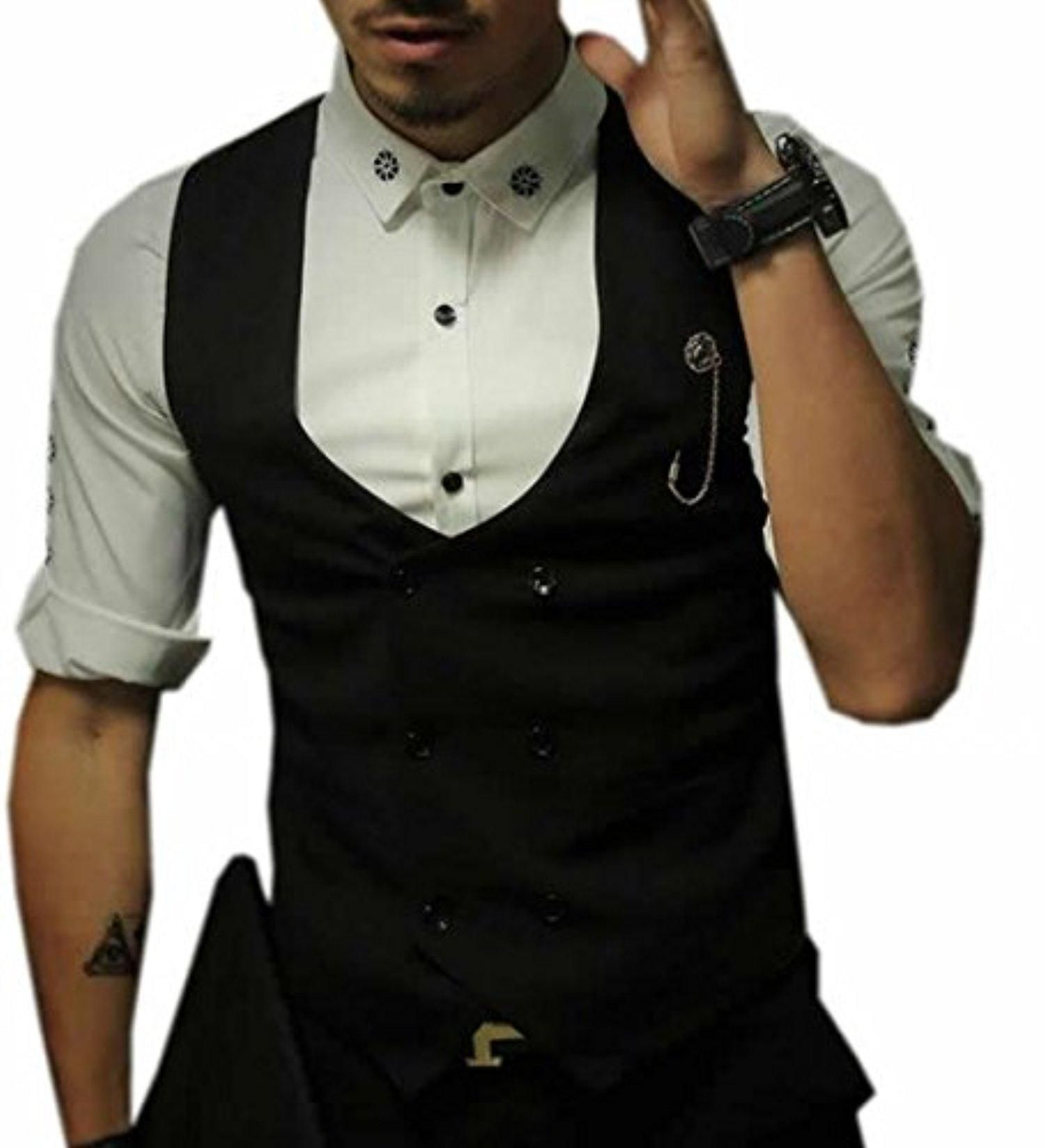 ARRIVE GUIDE Mens Casual Double-Breasted Waistcoat Vest black S - Brought to you by Avarsha.com