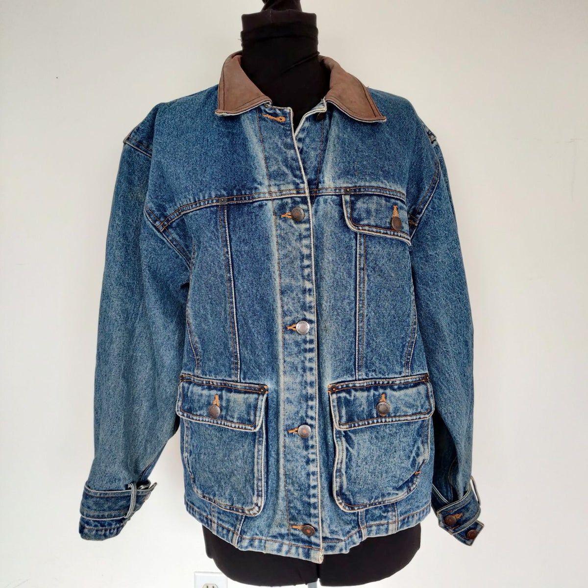 Vtg Wrangler Denim Jacket Leather Collar Jackets Denim Jacket Vintage Denim [ 1200 x 1200 Pixel ]