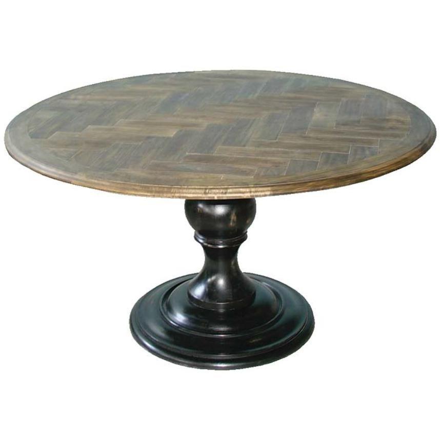 Round Pedestal Table W/ Herringbone Top By Regina Andrew.