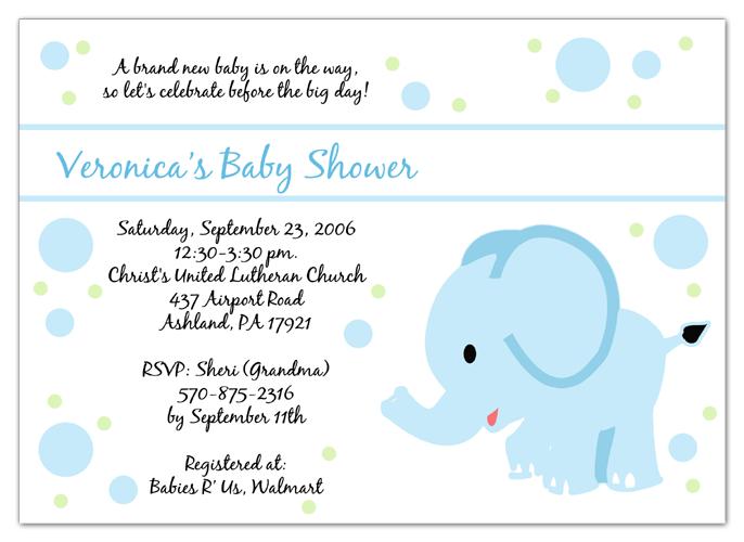 Baby Elephant Blue Baby Shower Invitations BabyWedding Shower