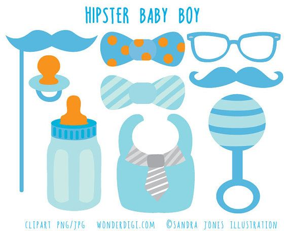 Hipster Baby Shower Clip Art Boy Baby Shower Clipart Baby Icons