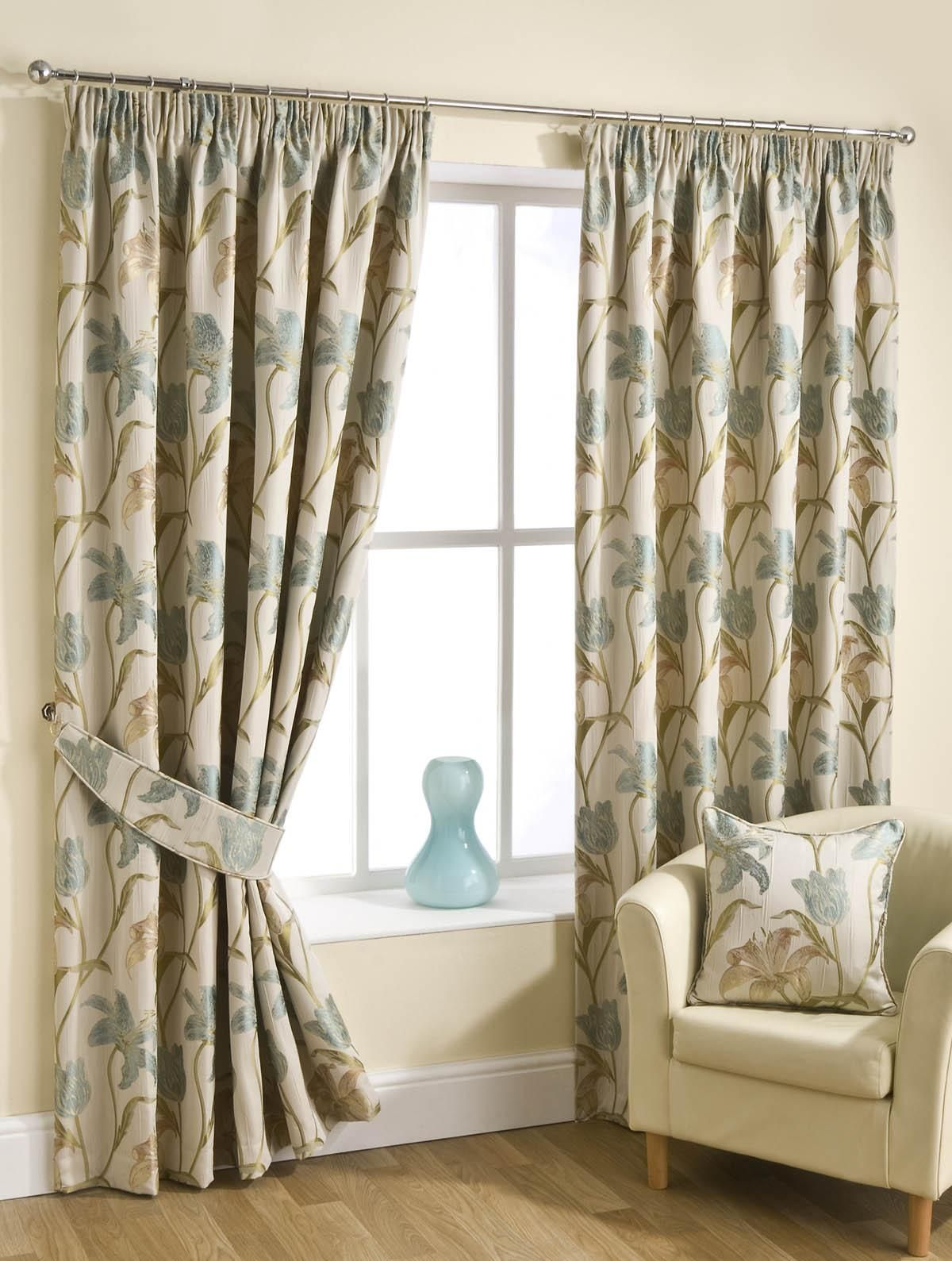 Fragrance Ready Made Lined Curtains Aqua Pencil Pleat Uk Delivery