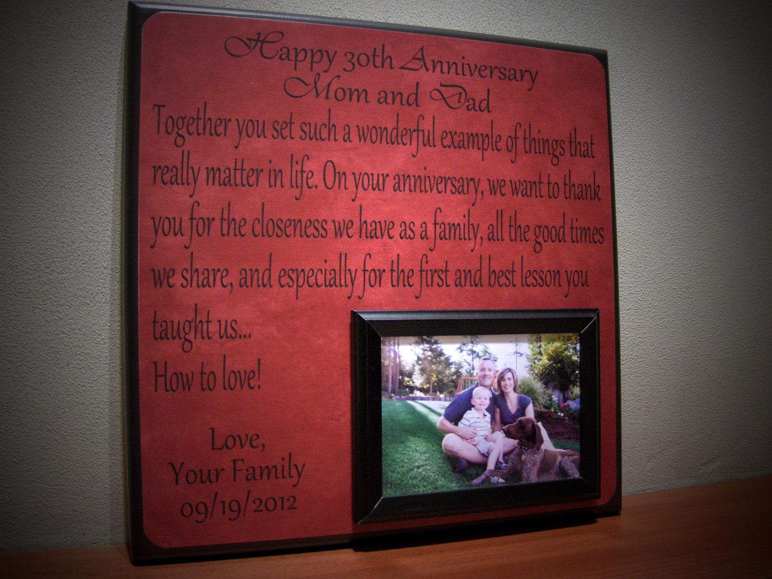 40th Wedding Anniversary Gifts For Parents Ideas: Anniversary Picture Frame Gift, 40th Anniversary, 30th