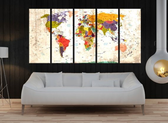 Push Pin World Map Canvas Print World Map Wall Art Set of 5 pieces