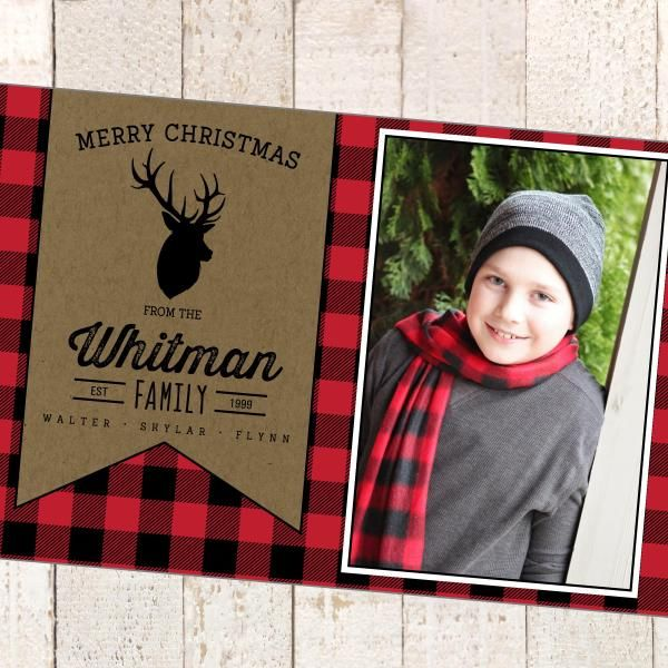 Holiday Christmas Photo Printable Card Buffalo Print Black And Red Christmas Photo Cards Plaid Christmas Card Christmas Holiday Photos