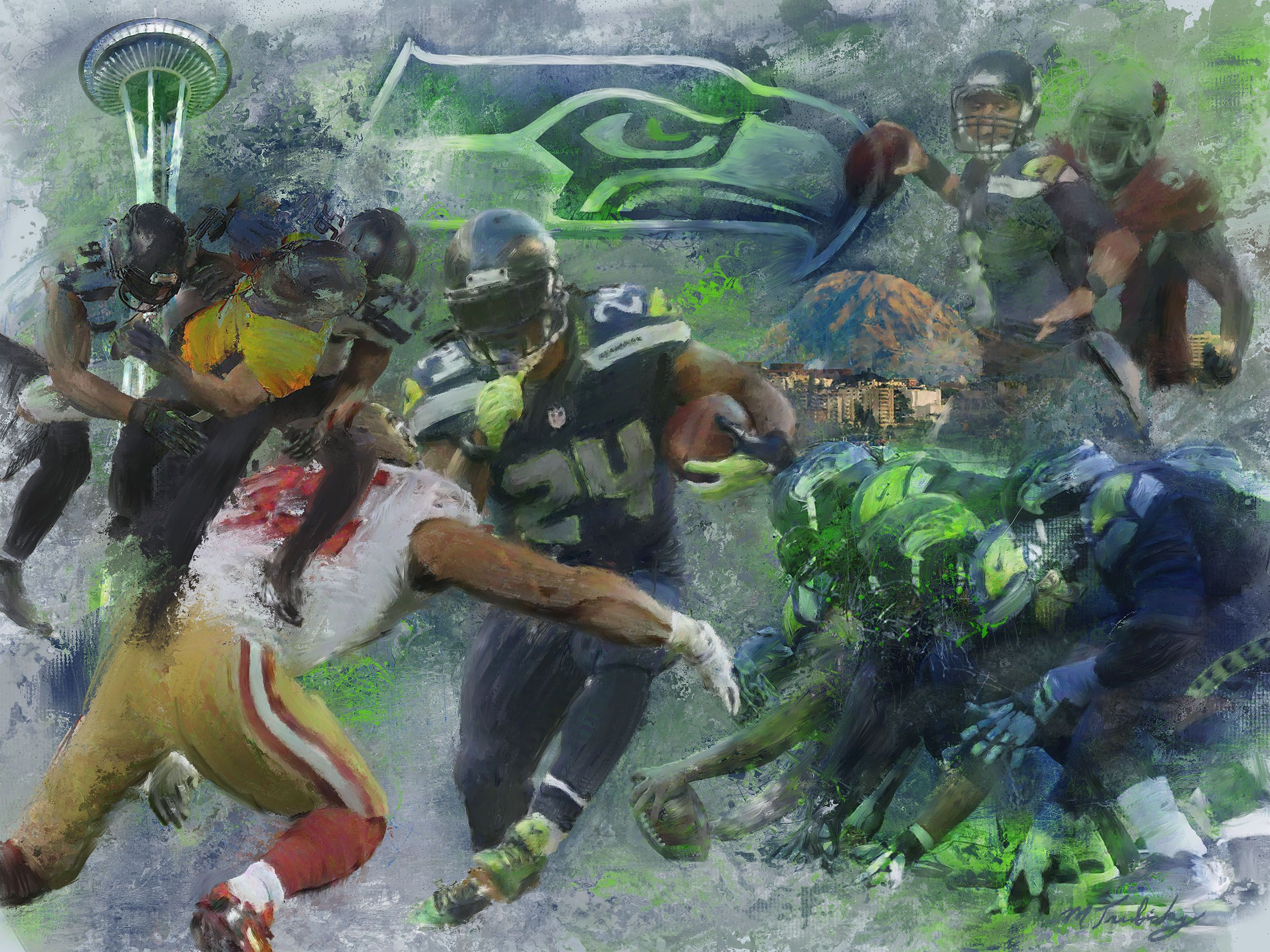 By Sea, Land and Air Seattle seahawks, Fine art, Seahawks