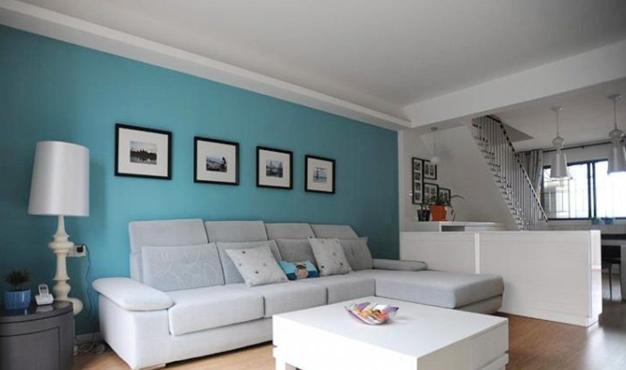 Black And White Living Room With Teal ocean blue walls living room - google search | interior vln