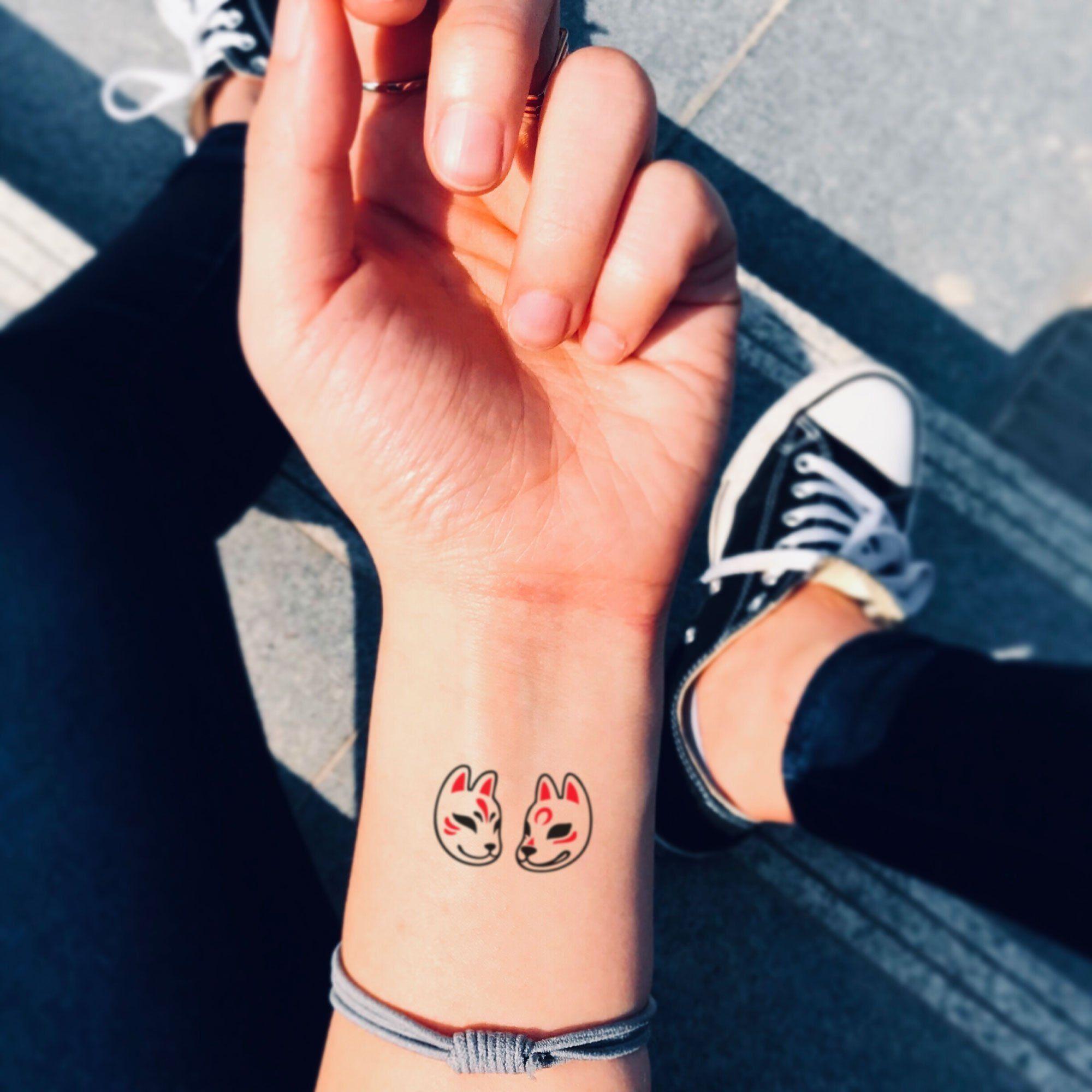 Japanese Kitsune Fox and Wolf Mask Temporary Tattoo Sticker (Set of 4) -   - #Fox #Ink #Japanese #JapaneseTattoos #Kitsune #mask #OpticalIllusions #Set #SkullTattoos #Sticker #Tattoo #temporary #Wolf