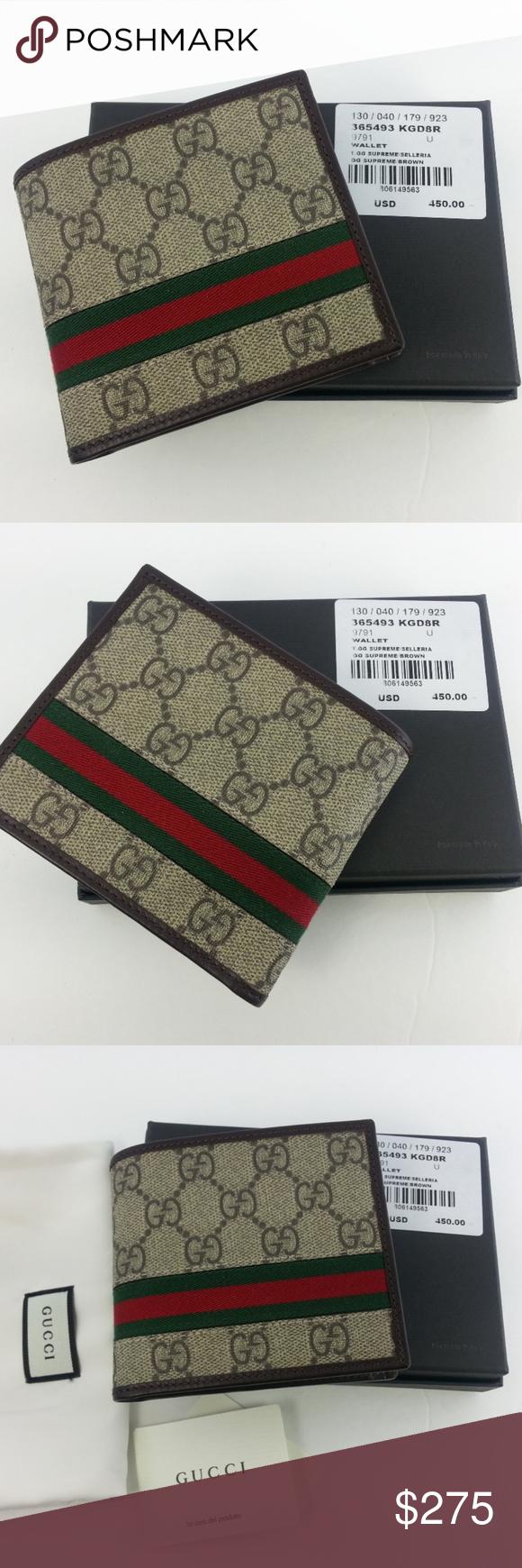 29c5718d99fb Gucci Mens GG Supreme Web Bifold Canvas Wallet GUCCI official Gucci Mens GG  Supreme Web Bifold