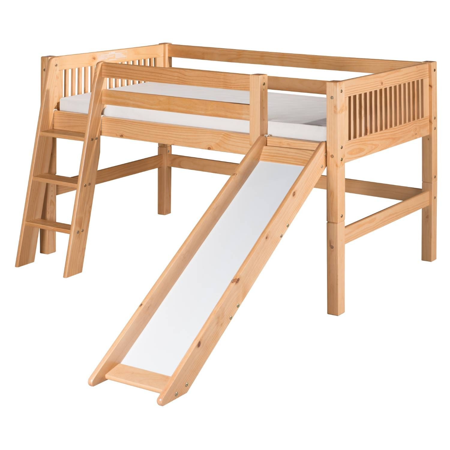Camaflexi C51 Bed With Slide Low Loft Beds Small Spaces Bunk Bed
