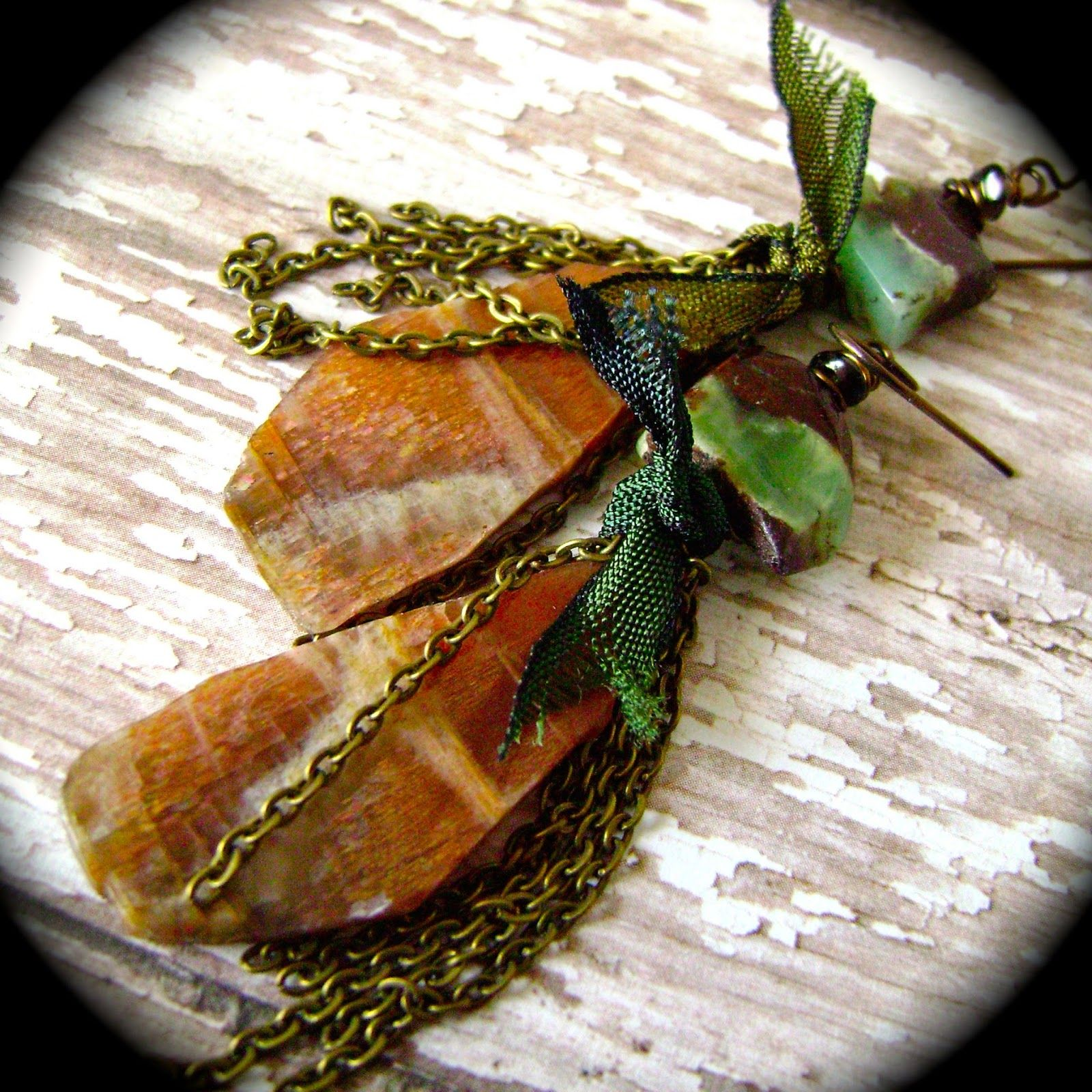 Sunstone and Chrysophrase earrings by Anvil Artifacts