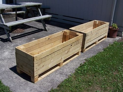 My Boyfriend Made Me Two Planters Out Of Pallets Woohoo It S Lovely Having A Diy Er Handy I M Going To L Pallet Projects Garden Pallets Garden Pallet Garden