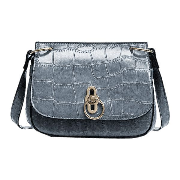 194df441c58 Embossing Faux Leather Metal Crossbody Bag Blue Gray ( 30) ❤ liked on  Polyvore featuring bags