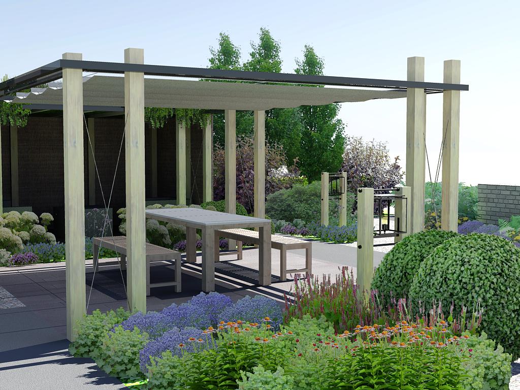 Schaduwlounge ontwerp met bijpassende tuinverlichting moderne