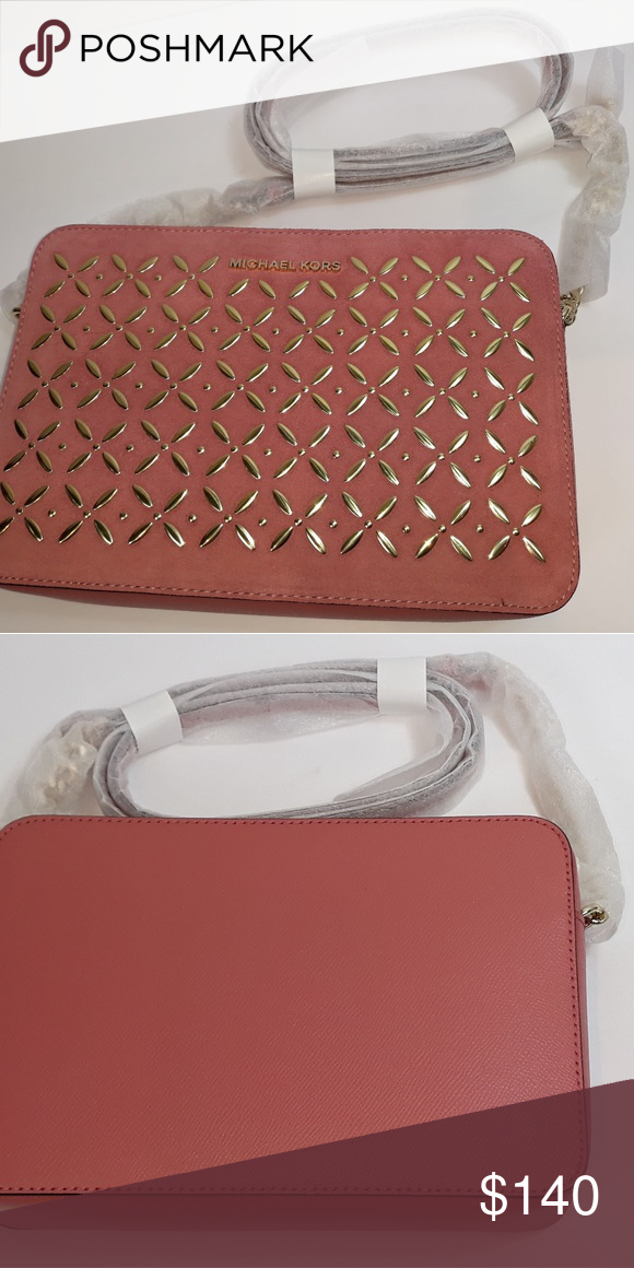 6f7efacf3d63d8 Michael Kors embellished crossbody NEW Michael Kors large Jet Set crossbody  Embellished with pale tone gold
