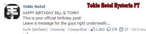 FELIZ ANIVERSÁRIO BILL & TOM! Este é o seu post oficial de aniversário! Deixe uma mensagem para os caras logo abaixo …