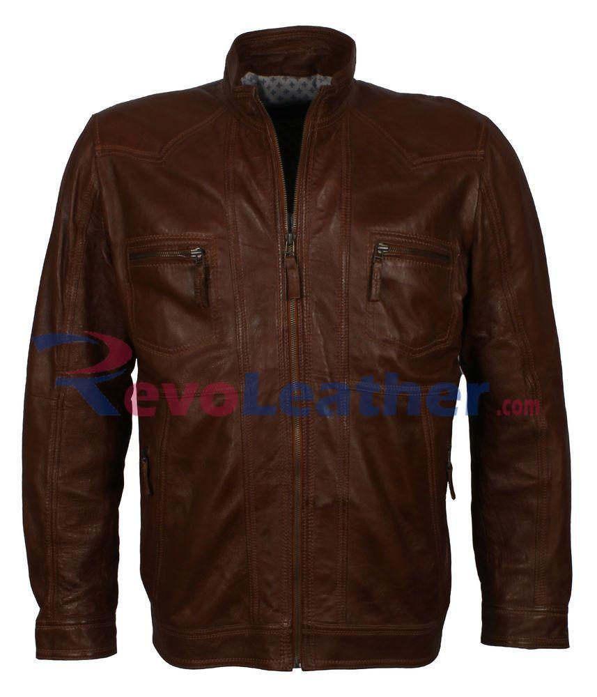 Mens Brown Biker Moto Real Sheep Leather Jacket