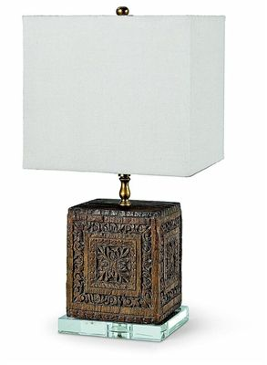 Blade Table Lamp - beautifully carved square wooden base on acrylic - perfect lamp when you need something that is not too tall