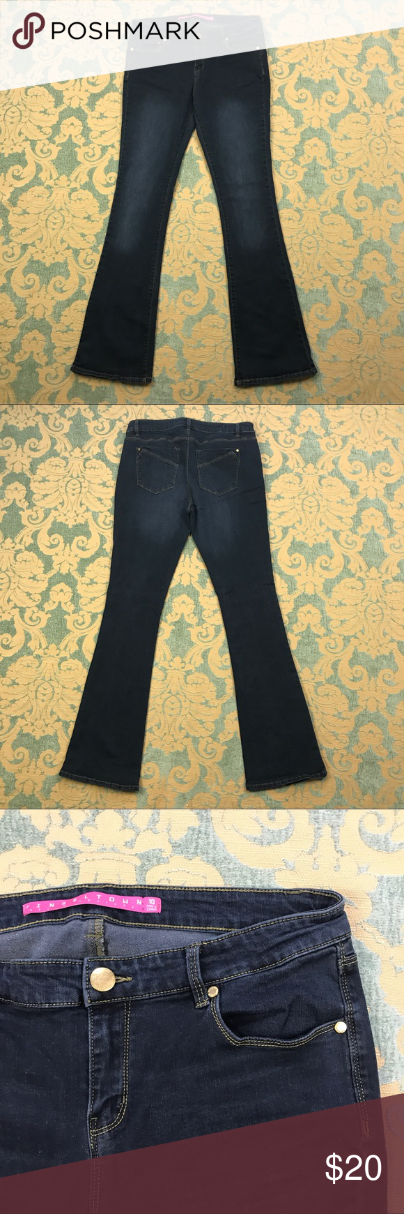 """Bootcut Blue Jeans 🦋 33"""" Inseam Tinseltown Dark Blue Jeans  Women's Size: 10  Material: 79% Cotton 29% Polyester 1% Spandex  Gently used with no flaws.  Measurements lying flat: Waist 16"""", Hips 18"""", Inseam 33"""", Front Rise 9"""", Back Rise 14"""".  Please, review pictures. You will get the item shown. Smoke & pet free home.   💋❤️🌷Save, Save, Save! 💋❤️🌷  💵👍🏻💰❤️ 30% off 3+ Bundles ❤️💰👍🏻💵 Tinseltown Jeans Boot Cut"""
