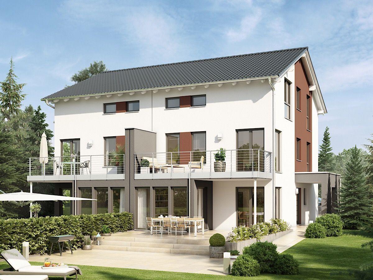 Modernes Doppelhaus groß mit Satteldach Architektur
