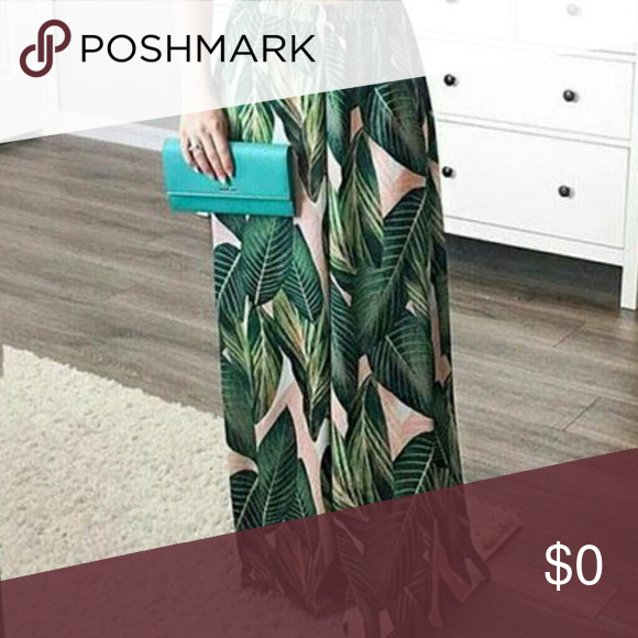 95fefd62ee *ISO PALM LEAF WIDE LEG PANTS ISO * Pink and Green palm leaf pant Pants  Wide Leg