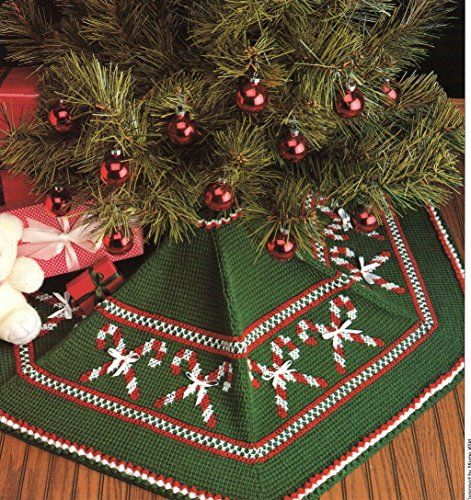 Christmas Tree Skirt - One Crochet Pattern with Embroidered Cross ...