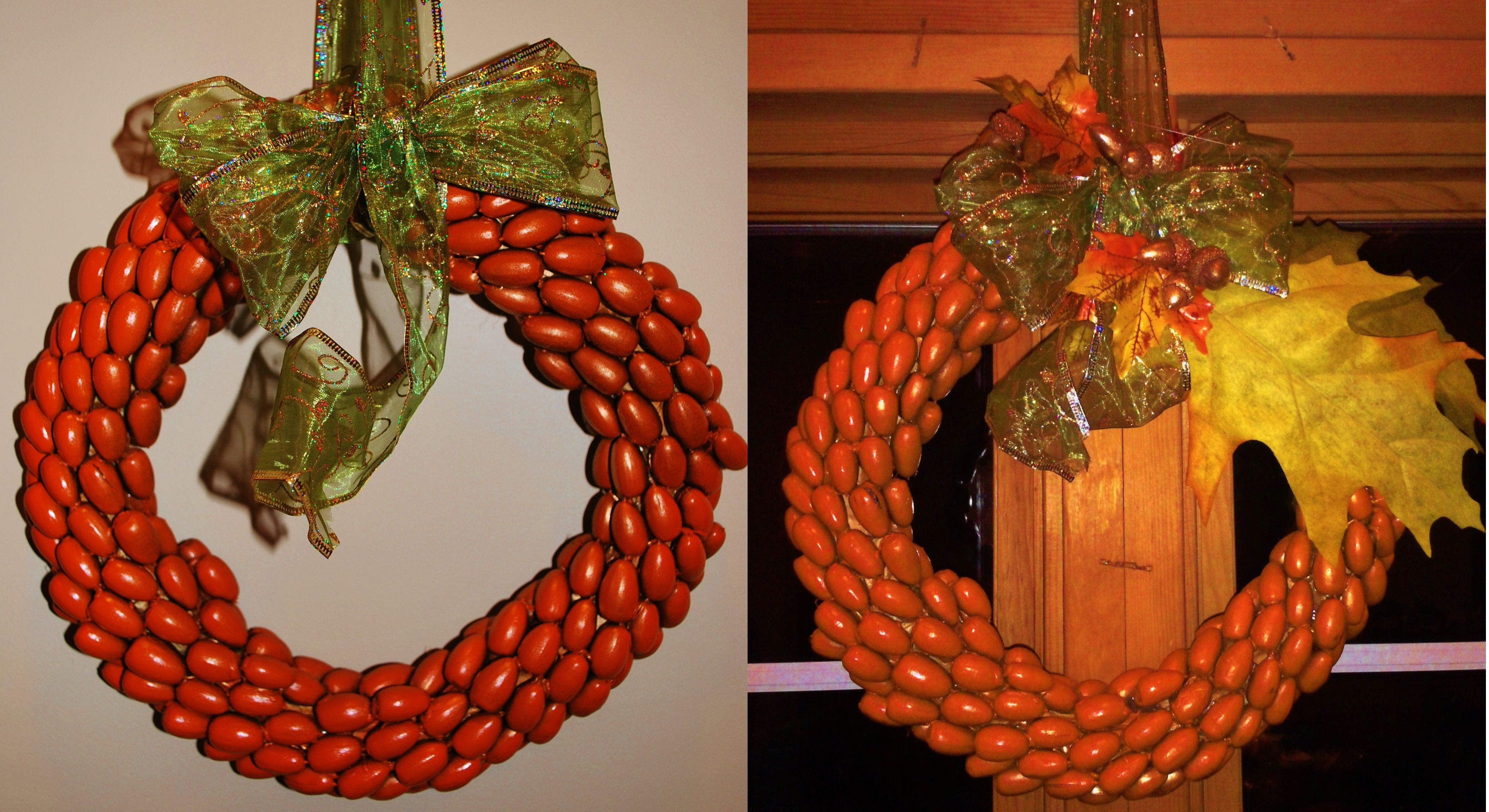 update on the acorn wreath just added some more embelishments