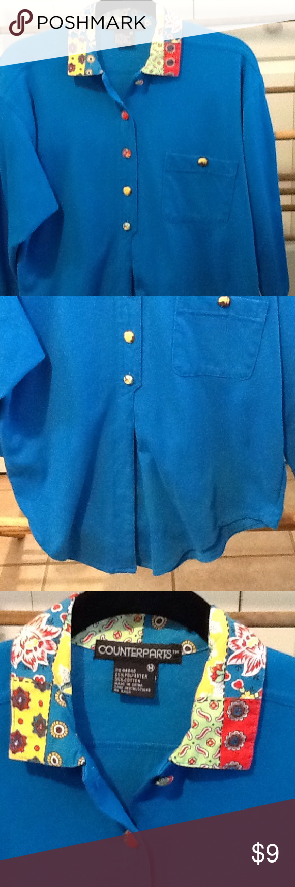 Funky Vintage Top Size Med. Royal Blue Cute Funky little top fabric button size med. polyester and cotton. Pullover top. Royal blue. By Counterparts. Counterparts  Tops Tunics