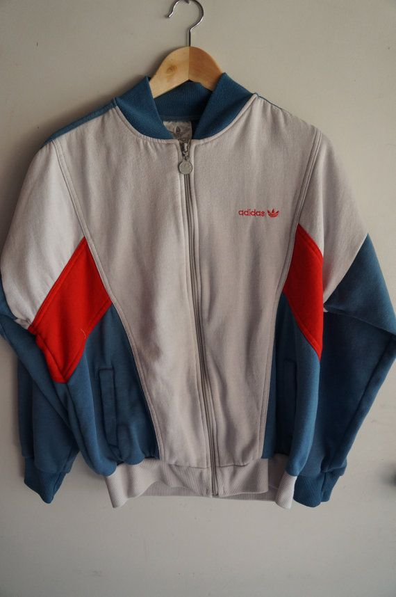 ef9e9b492015 Vintage 70 s   80 s Adidas Tracksuit Top - Grey   Red - Medium   Large -  FREE SHIPPING (Item T38) Track Jacket Unisex 80s