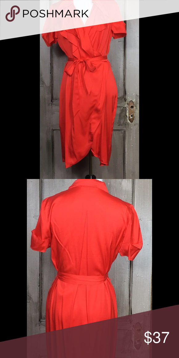 """Banana Republic 100% Silk Bright Red Such a pretty silk dress in bright red with faux wrap styling  belt and snap closure at top NWOT. Bust 38""""  Length 37"""" Dry Clean 100% Silk Size 10 Banana Republic Dresses Midi"""