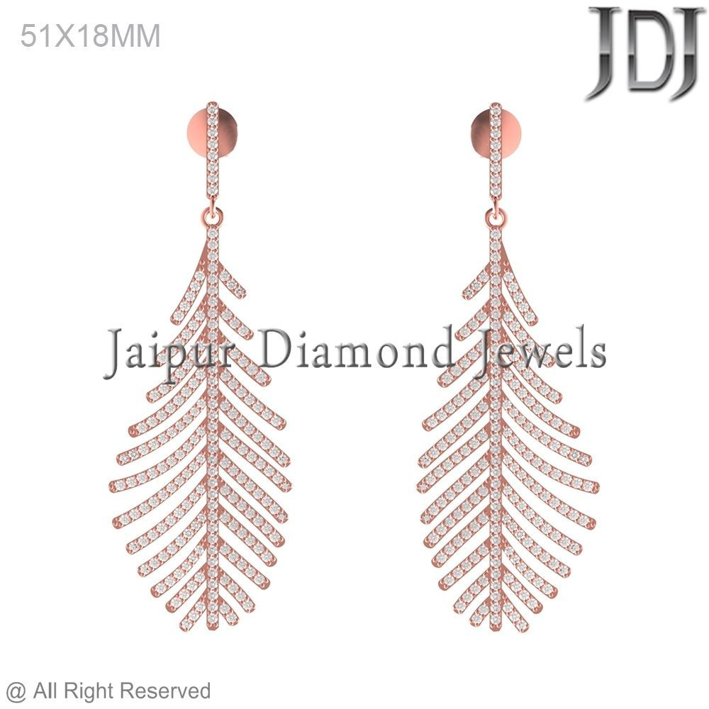 14k Rose Gold Latest Design Pave Diamond Designer Feather Dangle
