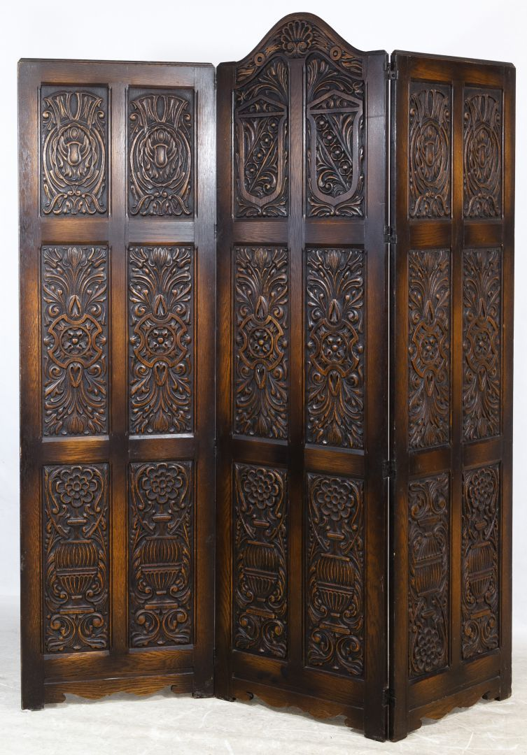 Lot oak room divider screen hinged three section screen with