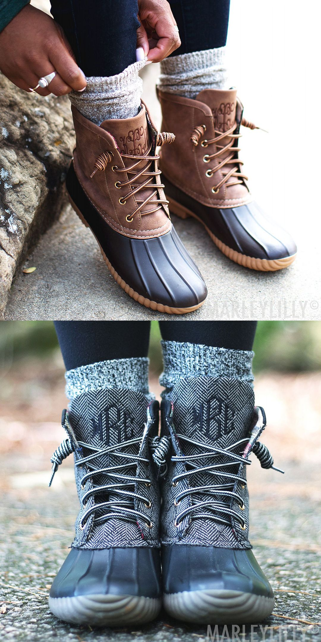 a29fb88c60450 Monogrammed Duck Boots are a fall essential that never goes out of ...