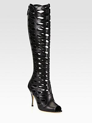 c491be597bd Wait List! Brian Atwood Electra Leather Cutout Knee-High Boots ...