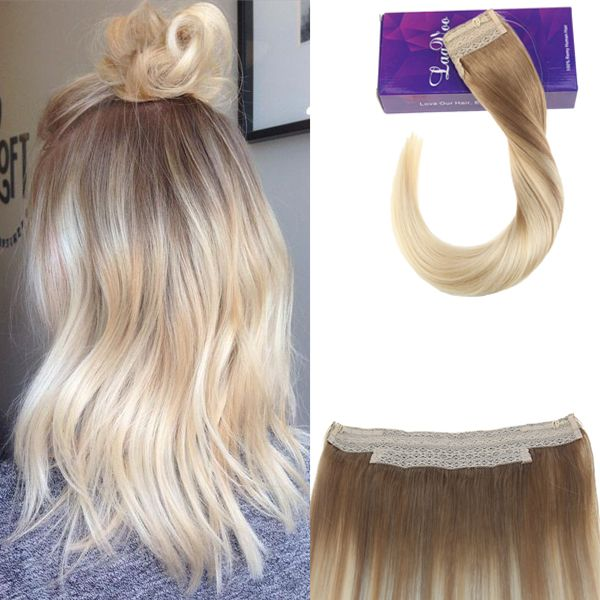 Flip On Invisible Wire Hair Extensions Remy Human Hair Ash Blonde