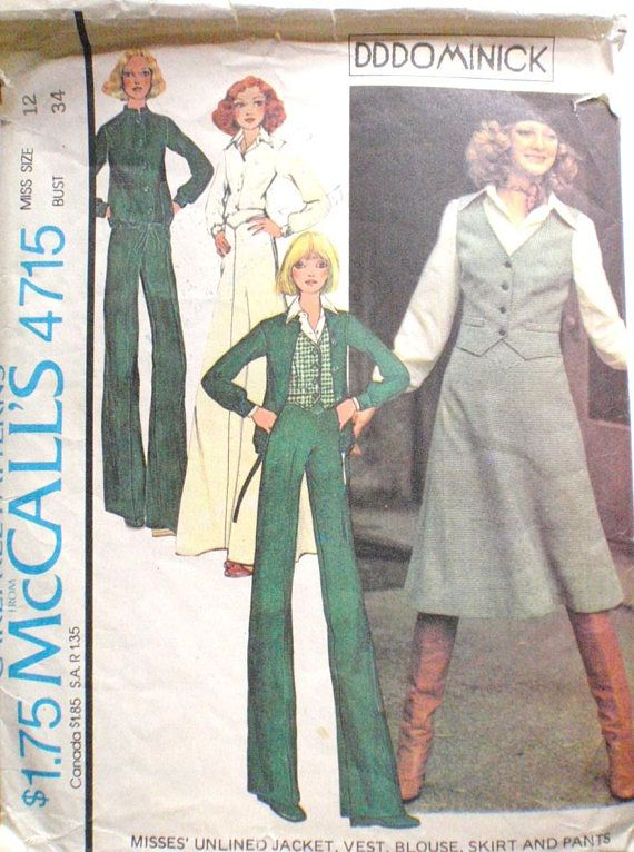 SALE McCall\'s 4715 DDDominick Vintage 70\'s Sewing | Patterns ...
