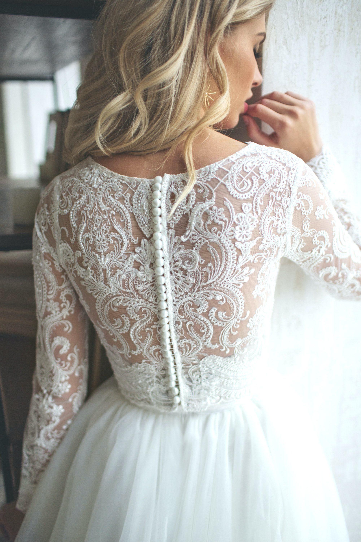 Langärmliges LORELEI Kleid aus Tüll Braut trennt Oberteil und